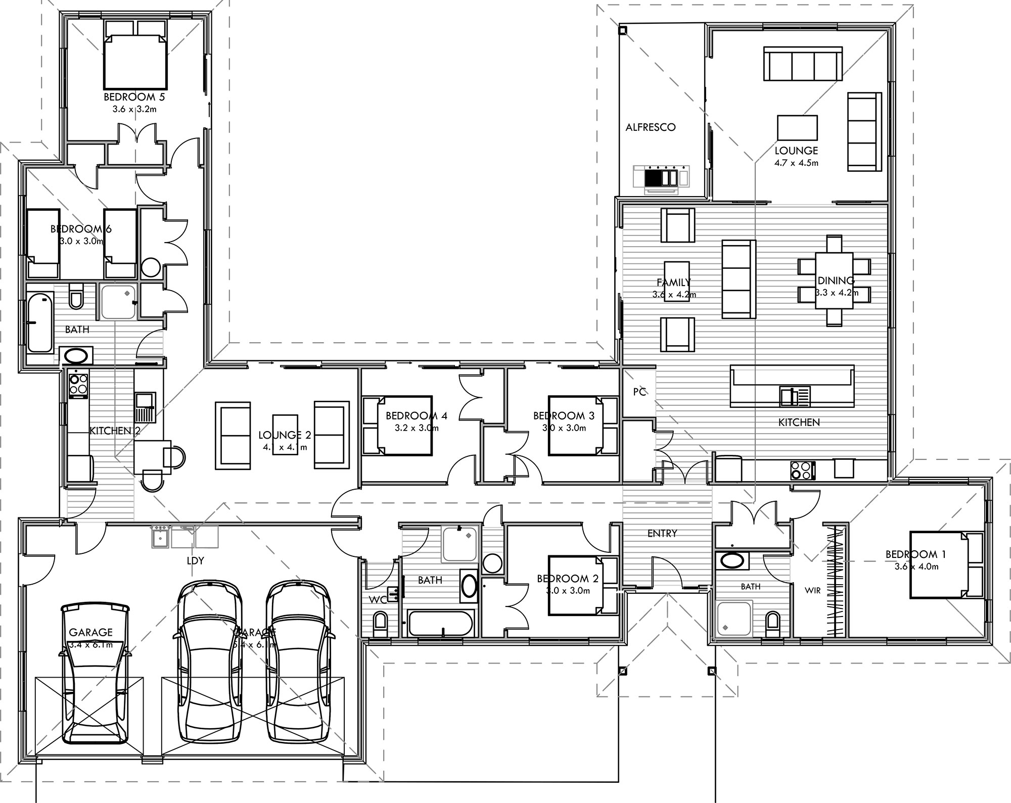 315m2 Dual living house plans sale